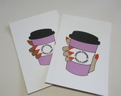 GK Nails | Postcards | Coffee Strong Nails Long | Nail obsessed | Stationary