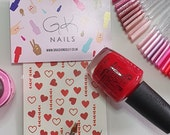 GK Nails | Red Heart Nail Decals | Valentines Nail Art | Nail Decals | Waterslide Nail Decals | Heart Nails | Nail Art