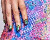 GK Nails Instant Manicure - Rainbow Snake Skin Jaded London Press on Nails