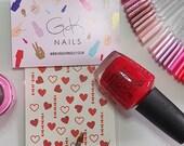GK Nails | Red Heart Nail Decals | Valentines Nail Art | Nail Decals | Waterslide Nail Decals | Heart Nails | Nail Art