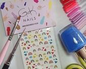 GK Nails | Cute Rainbow Nail Decals | Nail Art | Rainbow nails | Nail Decals | Waterslide Nail Decals