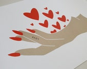 GK Nails   Handful of Love   Postcard   Love   Stationary   Valentines Card   Galentines Card
