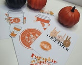 Autumn   Fall   GK Nails   Postcard and Sticker set