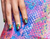 GK Nails Instant Manicure - Rainbow Snake Skin Jaded London Press on Nails