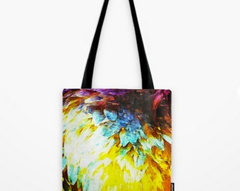 Tote Bag Abstract Blue Winged Teal Feather Duck Multi Colored Art