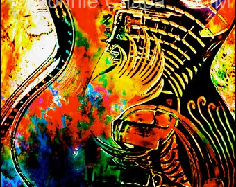 Red Guitar Texas Limited Edition Wall Art Giclee Square Print