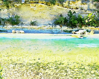Frio River Texas Hill Country The Hippo Hole Leakey Texas Limited Edition Wall Art Giclee Print