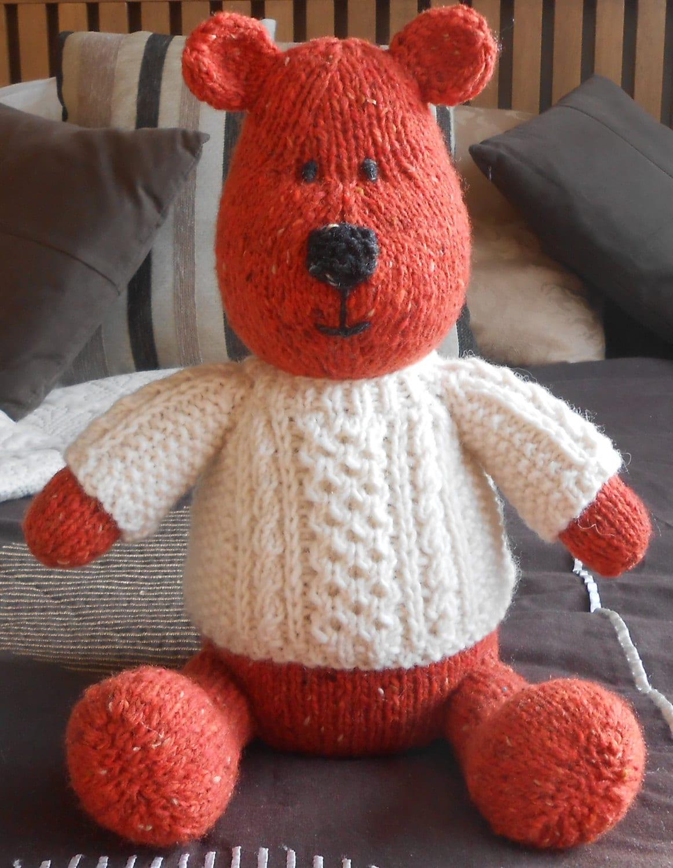 Teddy Bear with Aran Sweater PDF Knitting Pattern Irish ...