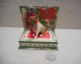 Miniature roombox - Merry Christmas dog with stocking