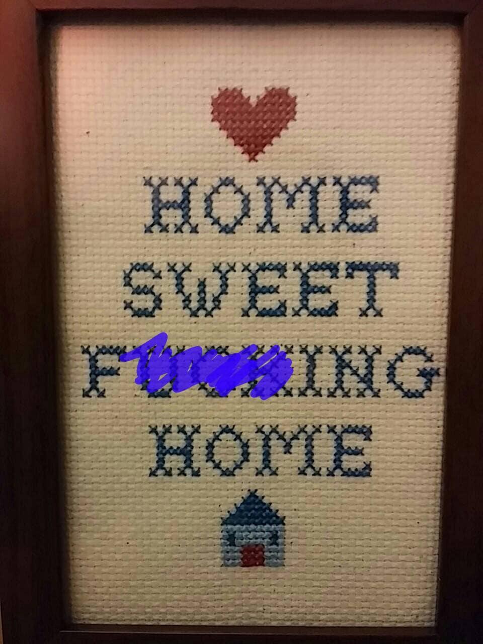 Reifen Sie Home Sweet Home lustige Kreuzstich umrahmt | Etsy
