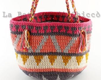 Crochet shopping bag, hand made bag, cotton bag, crochet summer bag.