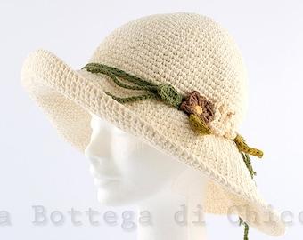 Summer hat, beach hat, cotton hat, woman summer hat, cotton and linen, crocheted hat, 100% HAND MADE
