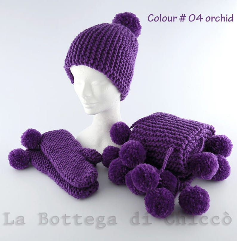 9bff3becfe1 Handmade knitted hat scarf and mittens with pom pons wool