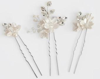 Wedding Headpiece, Floral bridal hair pins, Bridal Pins, Wedding Hair Pins, Bridal Headpiece, Floral hair pins for brides, Hair Pins, HANNAH
