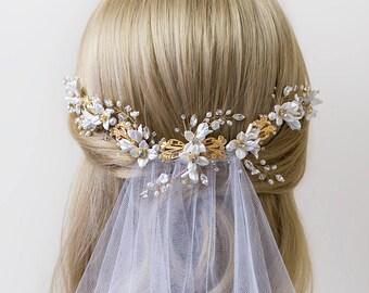 Bridal headpiece, Bridal hair vine, Wedding Accessories, Bridal Accessories, Wedding headpiece, Pearl and flower Headpiece | ODELIA Gold