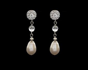 Bridal Earrings, Wedding Earrings, Pearl Earrings, CZ Earrings, Drop Earrings, Dangle Earrings, Rhinestone Earrings | LAUREN Rose Gold