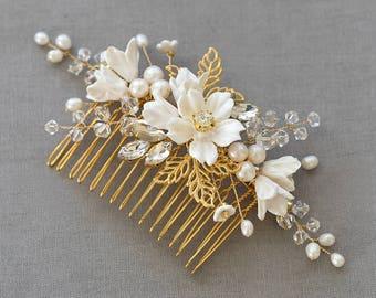 Floral wedding headpiece, wedding headpiece for brides, Wedding headpiece, bridal comb, Flower headpiece for brides, bridal headpieces FLEUR
