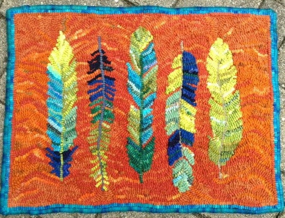 Five Feathers Rug Hooking Pattern 40 X 40 Etsy Magnificent Rug Hooking Patterns