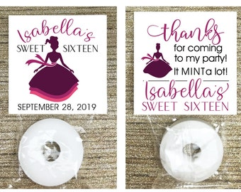Birthday Party Favors Mint Favor Tags Assembled  DIY Favors. Thank you tag Quinceanera Favor Tags Favors for Guests Sweet 16 Favors