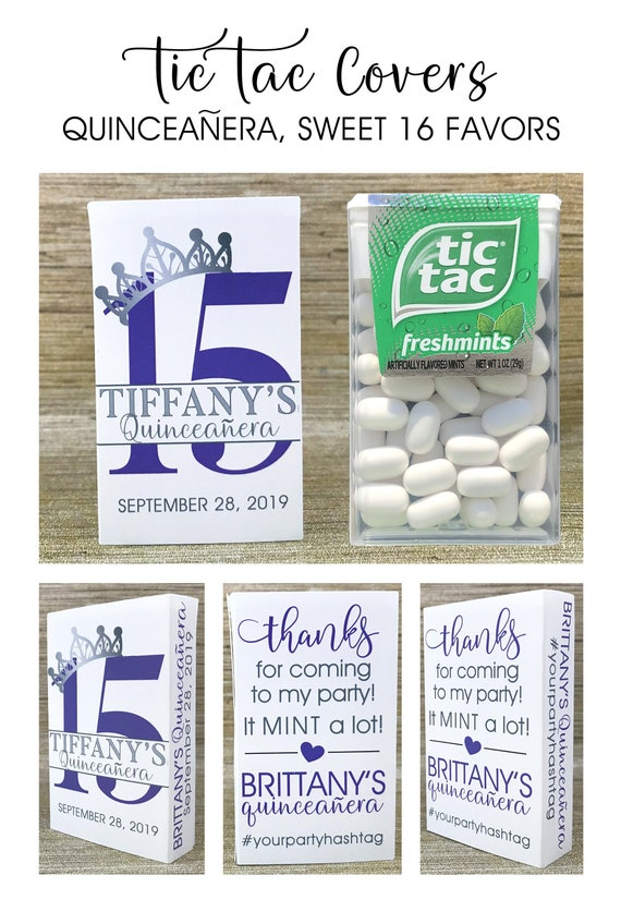 Sweet 15 Favors Birthday Party Favors Thank you tag Tic Tac Holders Covers Tic Tac Not Included Quinceanera Favor Tags Mint Favor Tags