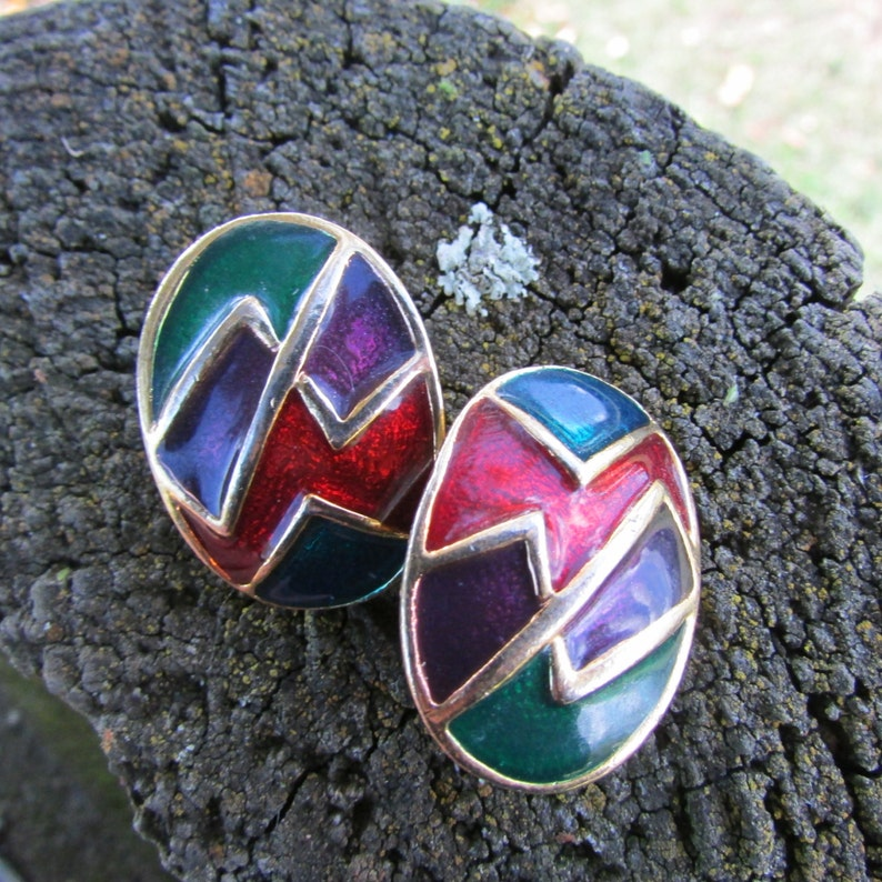 1980/'s zig zag clip on earrings kitsch clip ons 80s earrings.Free shipping! etro earrins Vintage 80s glamour retro clip ons