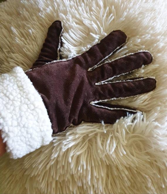 Brown suede gloves vintage gloves retro gloves kit