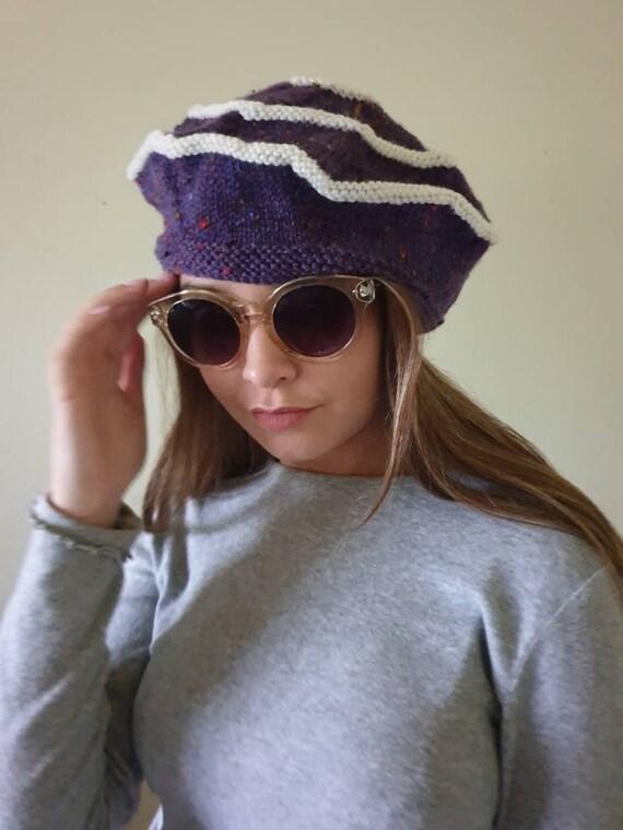 Purple beanie warm winter beanie wool hat wool bea