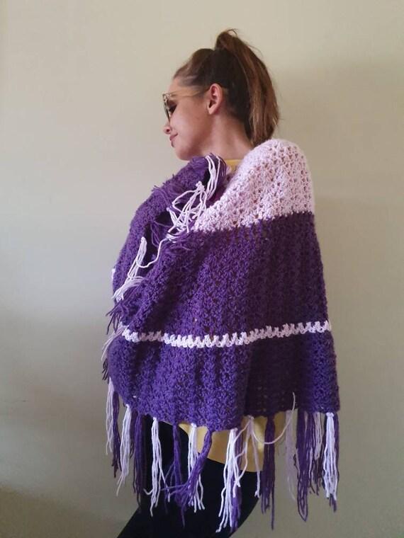 Vintage poncho purple poncho retro poncho kitsch p