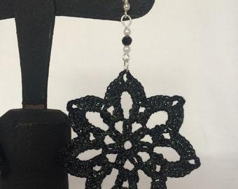 Crochet Earrings Flower 7 petals Black-unique handmade piece-Mother's Day