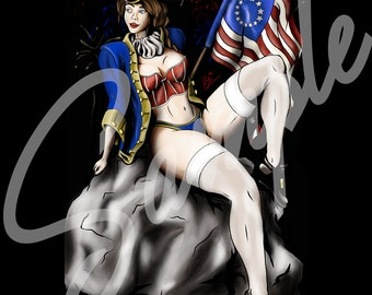 1776 Fourth of July Patriot Vintage Style Pinup T Shirt