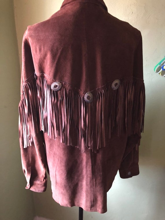 Vintage Brown Suede Fringe Jacket from early 90's… - image 5
