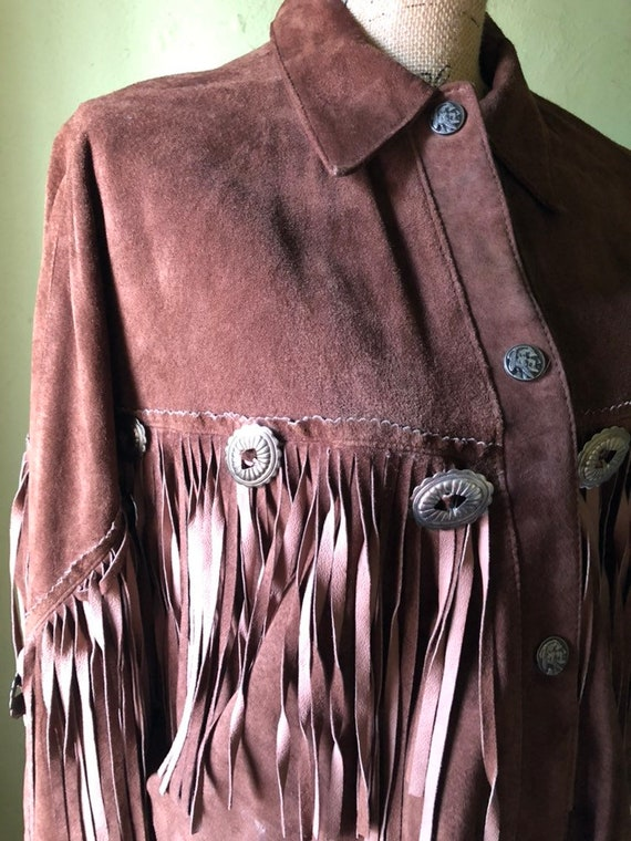 Vintage Brown Suede Fringe Jacket from early 90's… - image 6