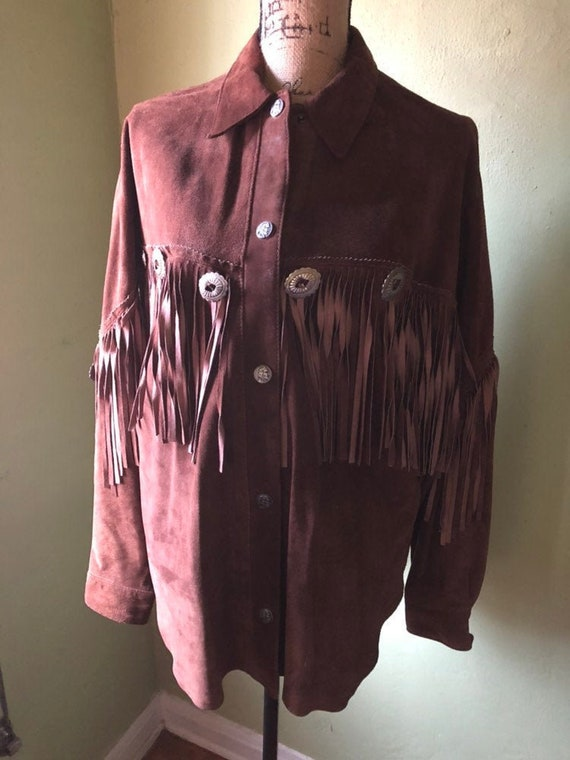 Vintage Brown Suede Fringe Jacket from early 90's… - image 1