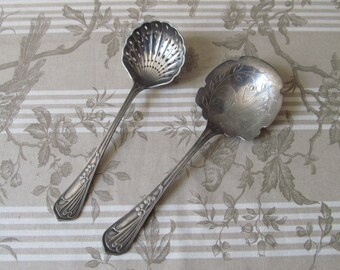 French Art Nouveau Silver Plated Sugar Sifter and Berry Spoon Set