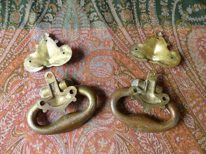 Furniture Handles LARGE Pair of French Antique Furniture Handles French Bronze Handles Double Door Handles Antique Drawer Pulls