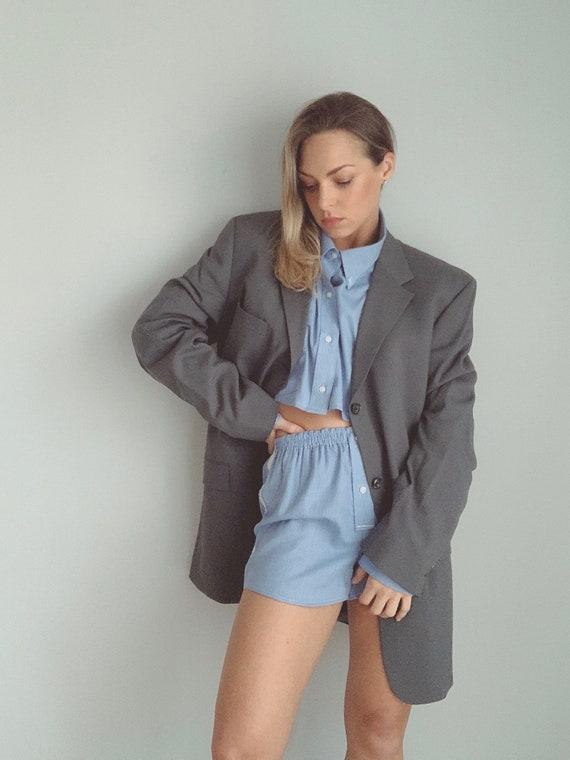 Oversized gray tommy hilfiger blazer