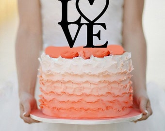 Love  Wedding Cake topper Monogram cake topper Personalized Cake topper Acrylic Cake Topper
