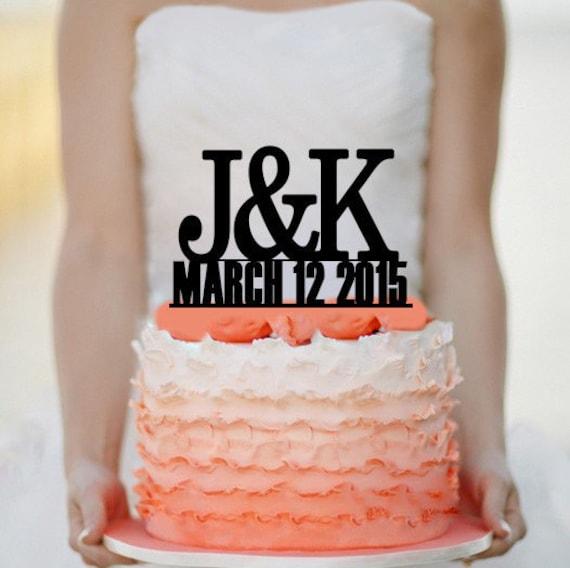 Personalized Custom Wedding Initials Cake Topper Monogram Cake Etsy