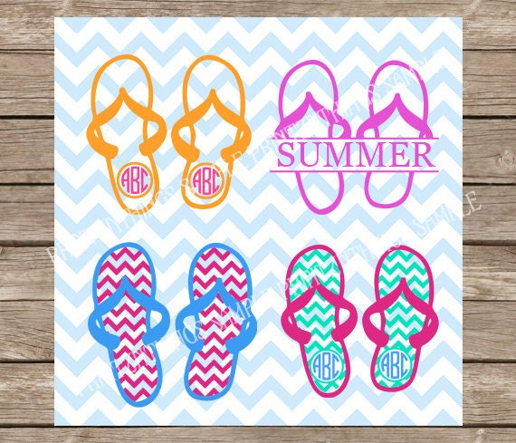 Summer svg, Flip Flops svg, Monogram svg, Beach svg, Vacation svg, Flip  Flop svg, Flip Flops Monogram, svg, svg files, flip flops, beach