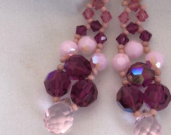 Handcrafted Pink Swarovski Crystal and Glass Sterling Silver Pierced Earrings