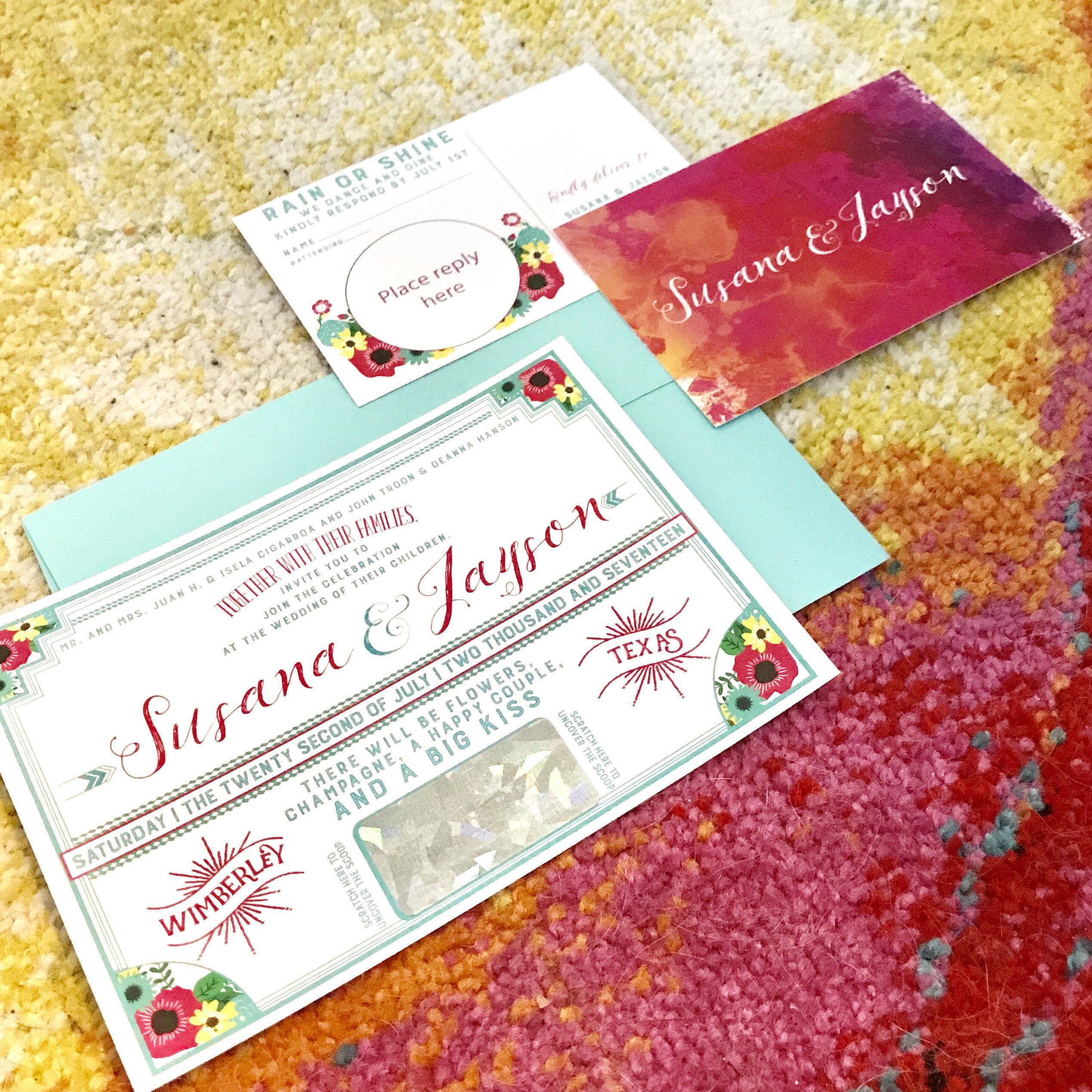 Scratch off interactive wedding invitation | Etsy