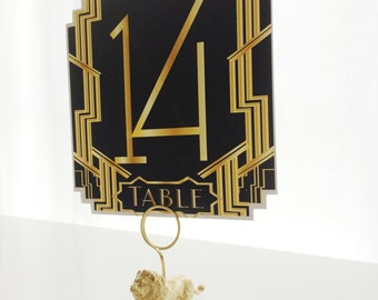 Set of Gatsby Table Numbers - black and gold