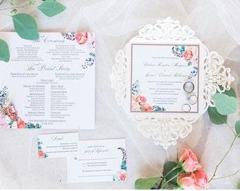 Lasercut rustic floral wedding invitation