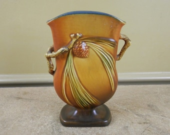 Vintage Roseville Pottery Pillow Vase 121-7 Pinecone Brown Pine Cone 7 Inch Acorn Nature Pen Holder Paint Brush Caddy