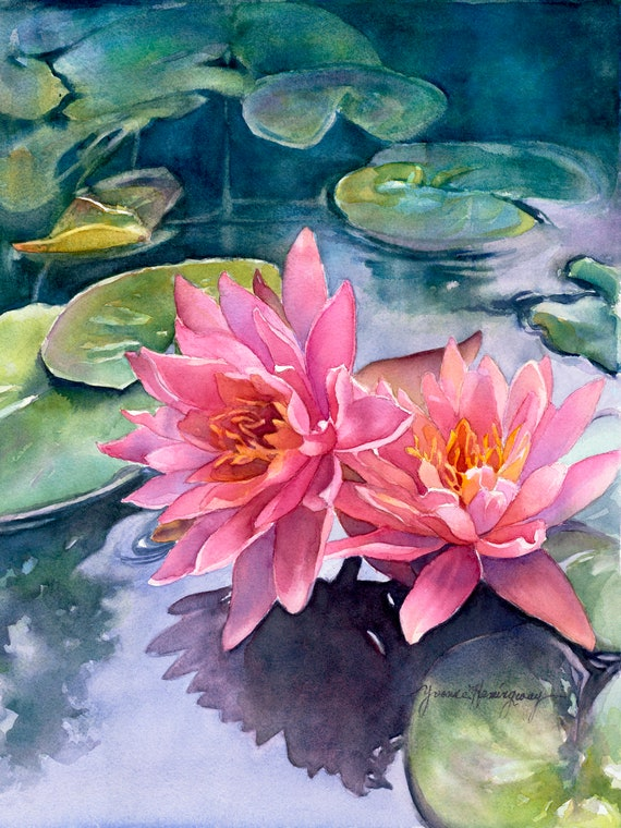 Lotus Flowers- Fine Art Giclée Reproduction of my Original Watercolor Painting-Pink Waterlilies With Blue and Green-Flower Wall Art Print