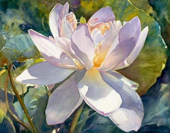 Lotus Flower Original Watercolor Painting White Lotus With Etsy