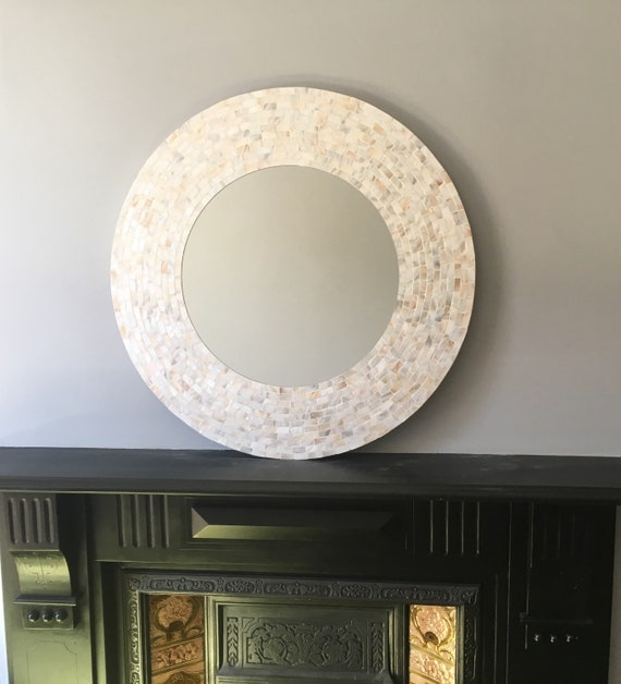 Large Mother Of Pearl Mosaic Mirror In Stock Diameter 85 Cm Etsy