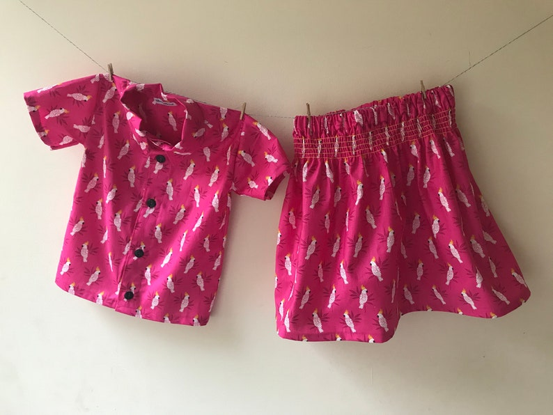 cockatoo gift cockatoo print bright skirt Cockatoo skirt smocking skirt elasticated skirt party skirt toddler skirt baby skirt