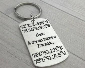 ab259dbc29da4 Hand stamped geo coordinate keychain