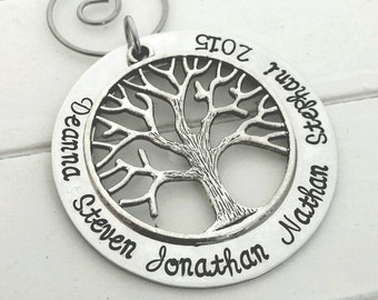 Personalized family ornament,  family tree ornament, hand stamped ornament,  custom ornament
